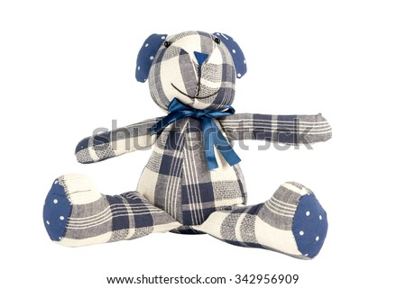 Teddy Bear toy isolated on white, Pattern Fabric - stock photo