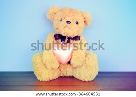 Teddy Bear toy with filter effect retro vintage style - stock photo