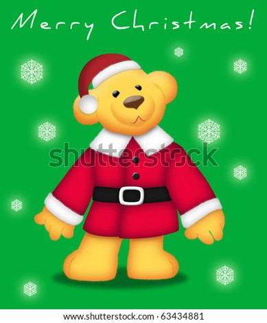 Teddy bear wearing Santa outfit on green background.