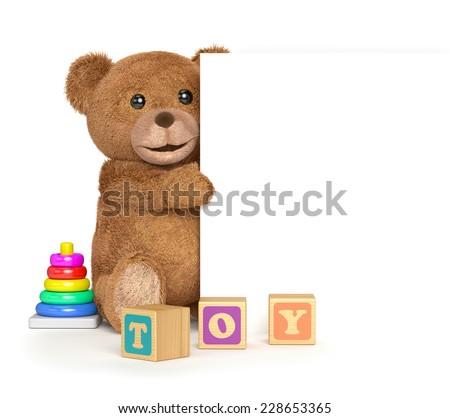 Teddy bear with a panel - stock photo