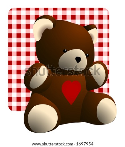 Teddy bear with a red heart against a red gingham checked background - stock photo