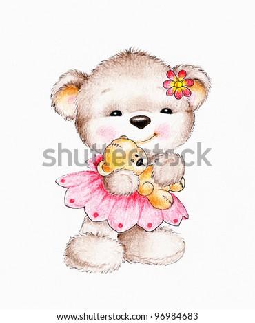 Teddy bear with baby bear - stock photo