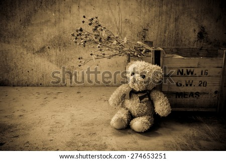 Teddy bear with box in room, Still life vintage effects style,Sad concept - stock photo