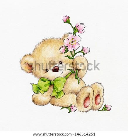 Teddy bear with flowers - stock photo