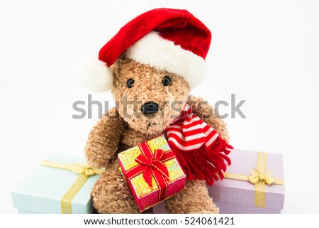 Teddy bear with gift box on white background