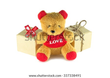 Teddy bear with gift box that isolated on white background with copy space