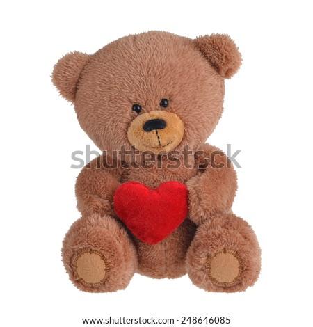 Teddy bear with heart - stock photo