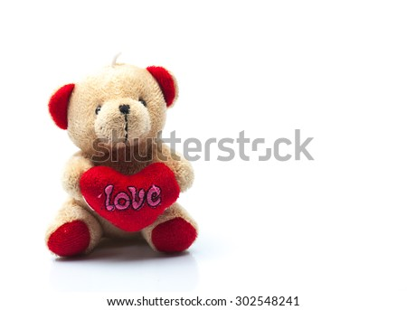 Teddy Bear with Love Heart on isolated background