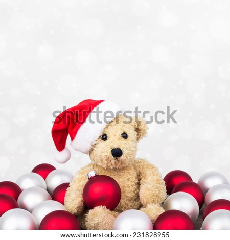 Teddy bear with red and white christmas balls/christmas/teddy