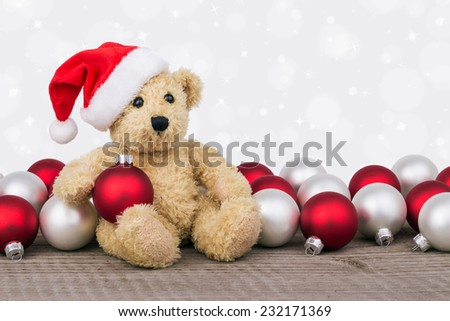 Teddy bear with red and white christmas balls/christmas/teddy  - stock photo