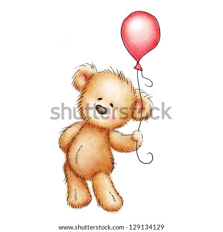 teddy bear with red balloon on white background - stock photo
