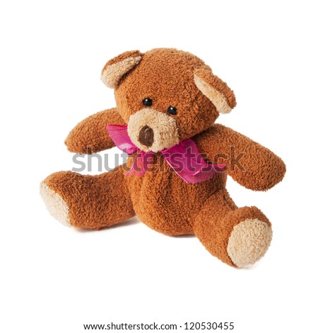 teddy bear with red bow isolated on white background - stock photo