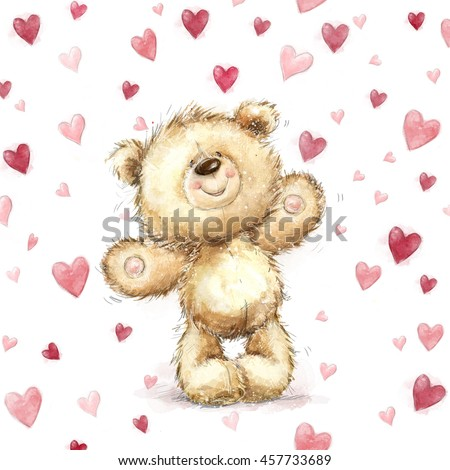 Teddy bear love stock images royalty free images vectors teddy bear with red heartslentines greeting card love designlovei voltagebd Image collections