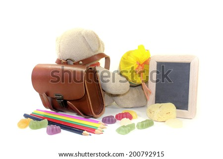 Teddy bear with school bag, wallet, pens and board on a light background - stock photo