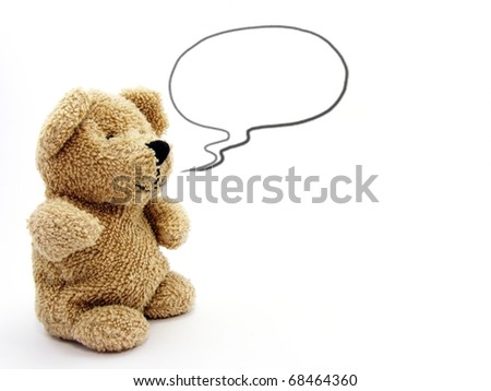 Teddy Bear with Speech Bubble - stock photo