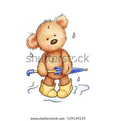 teddy bear with umbrella and rubber boots - stock photo
