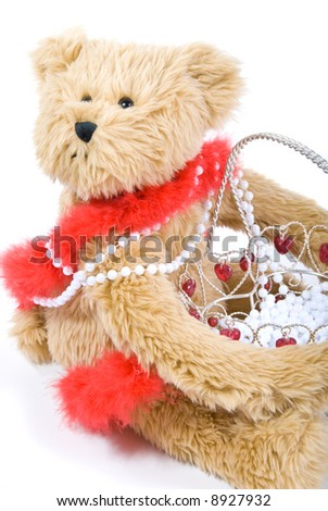 teddy bear with valentine decorative basket with white beads