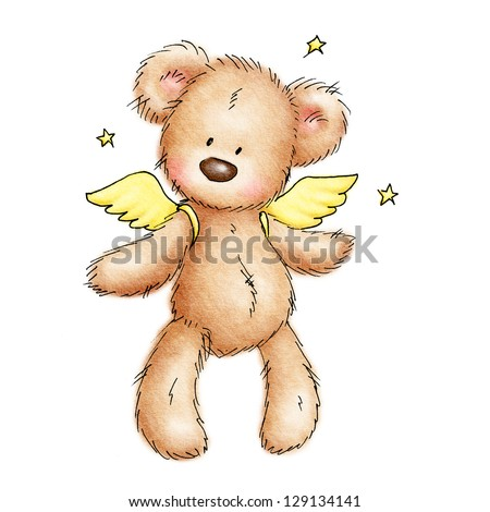 teddy bear with wings and stars  on white background - stock photo