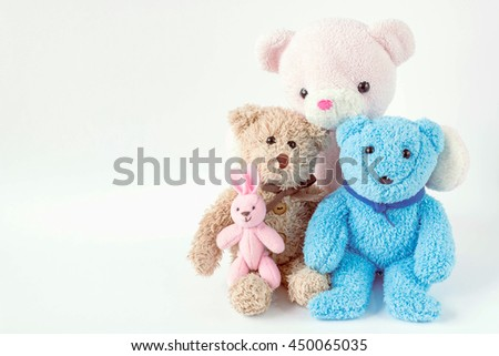 teddy bears and rabbit  - stock photo