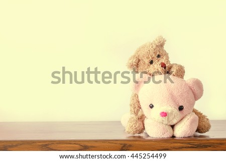 Teddy bears in vintage style - stock photo