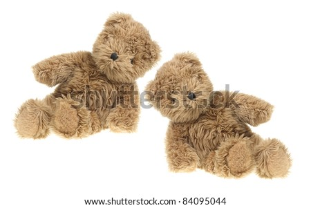 Teddy Bears on White Background - stock photo