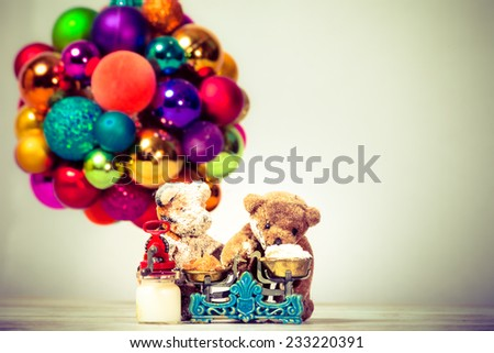 teddy bears weigh flour and sugar - stock photo