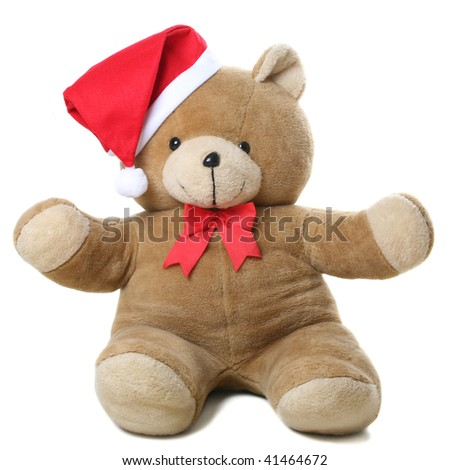 teddy with christmas hat - stock photo