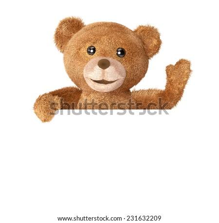 Teddy with empty panel - stock photo