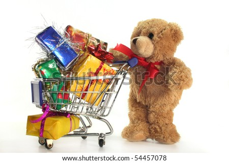 Teddy Laden teddy shopping cart laden colorful gifts stock photo 54457078