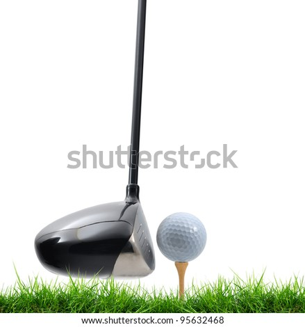 tee off on white background - stock photo