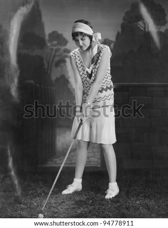 Teed up and ready to play - stock photo