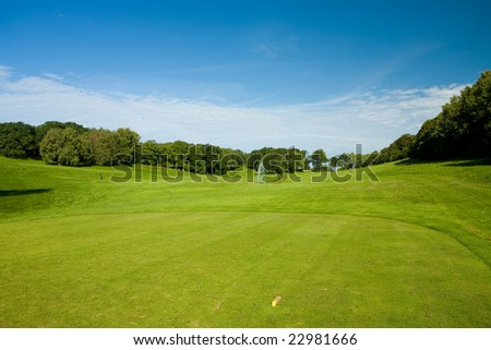 Teeing ground. Golf course in Molle, Sweden - stock photo