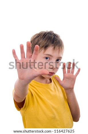 Teen aged 10-12 years. Closes hands of aggression in the family. - stock photo