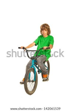 Teen bike riding a  bike isolatedon white background - stock photo