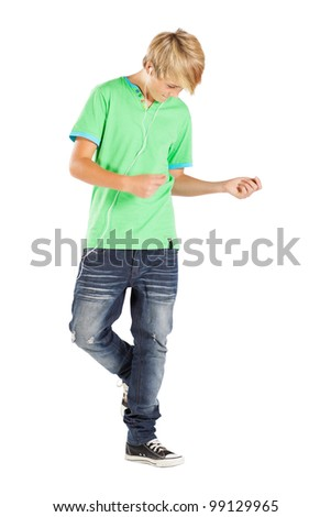teen boy dancing with music isolated on white - stock photo