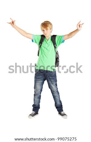 teen boy full length portrait over white background - stock photo