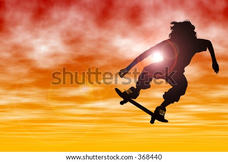Teen boy Silhouette with skateboard jumping at sunset with lens flare. - stock photo