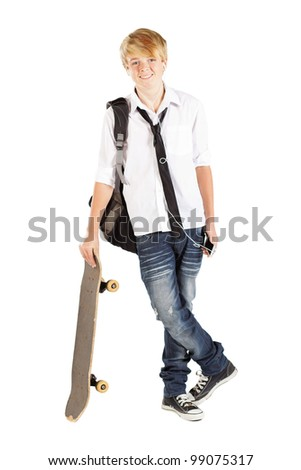 teen boy with skateboard isolated on white