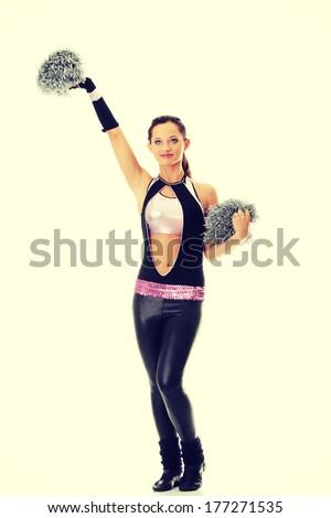 Teen cheerleader isolated on white background - stock photo
