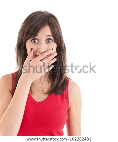 Teen cover her mouth by hand palm, isolated on white - stock photo