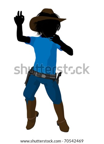 Teen cowboy illustration silhouette on a white background