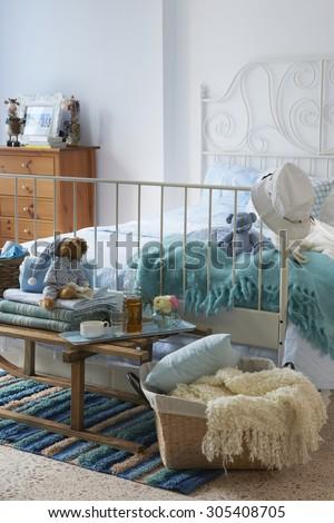 teen decor interior concept with pillow  - stock photo