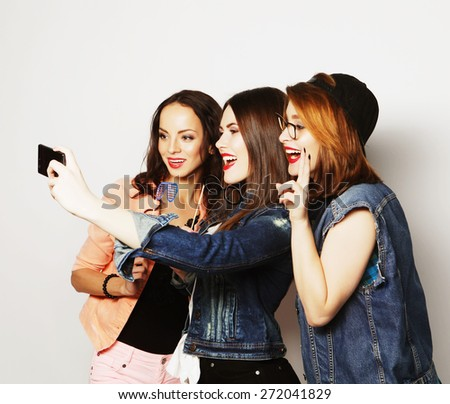 teen funny girls, ready for party, selfie - stock photo