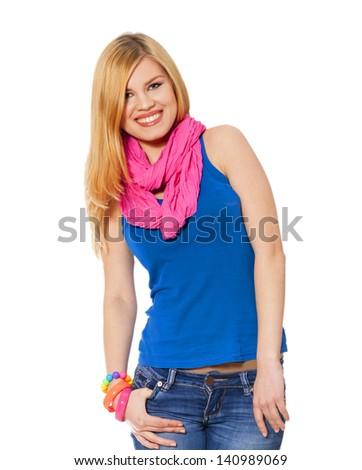 Teen girl at white background - stock photo