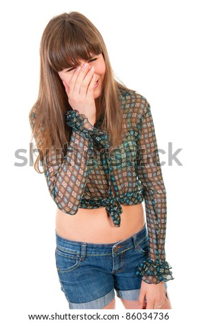 Teen girl crying isolated over white background - stock photo