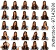 teen girl emotional attractive set make faces isolated on white background - stock photo
