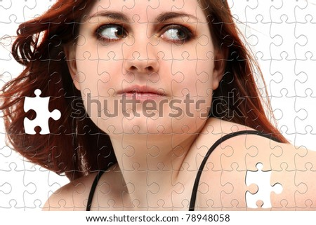 Teen girl face puzzle with missing pieces over white.
