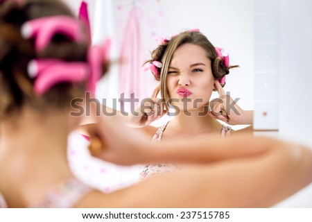 Teen girl gesture and activity not listening, concept ignorance - stock photo