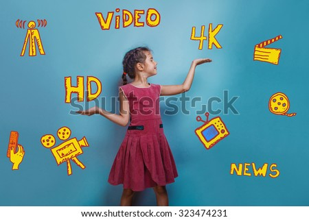 teen girl gesture scales 4k HD on background infographics TV channels sketch icons in the background - stock photo