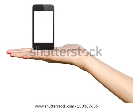 Teen Girl Hand Holding New Smart Phone In iPhone Style - stock photo